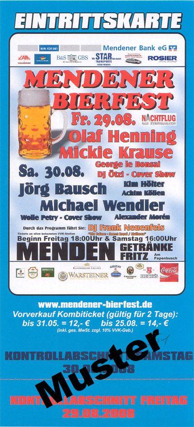 Mendener Bierfest 2008 Flyer