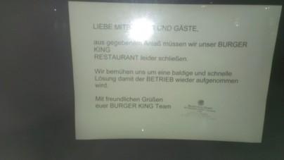 Aus gegebenen Anlass geschlossen: Burger King Menden